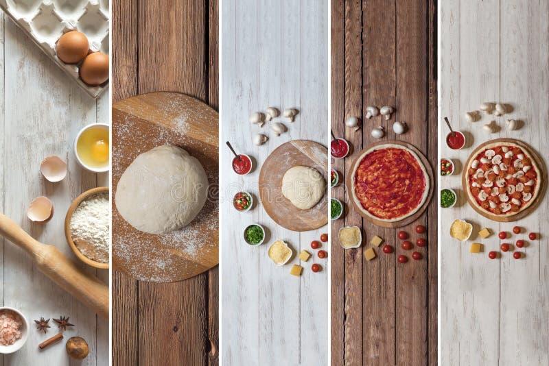 Cozinhando a pizza italiana com colagem do alimento dos cogumelos fotografia de stock royalty free