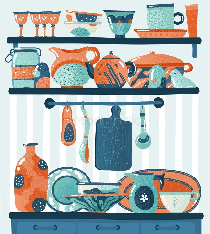 Cozinhando a prateleira Utensílios da cozinha para a posição da preparação dos alimentos ou do cookware nas prateleiras que pendu ilustração stock