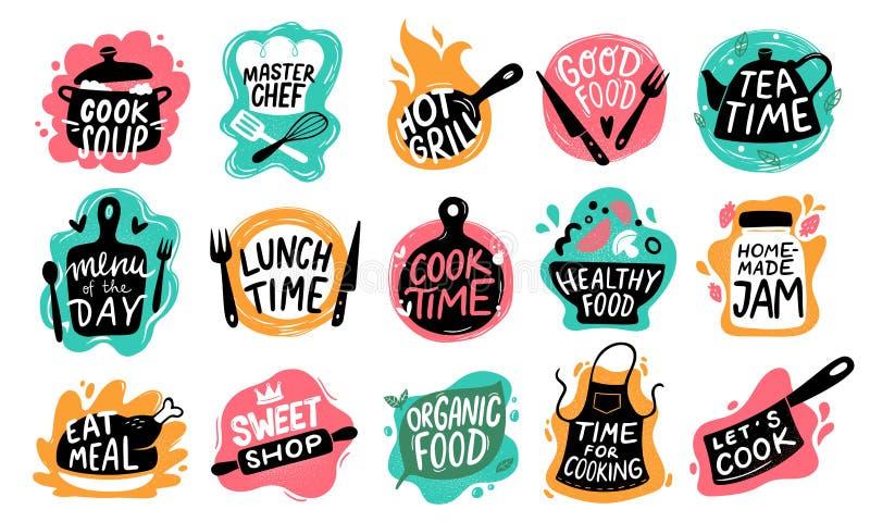 Cozinhando a rotula??o do alimento Logotipos do crach? da cozinha, tipografia de cozimento dos alimentos e grupo do vetor das eti ilustração stock