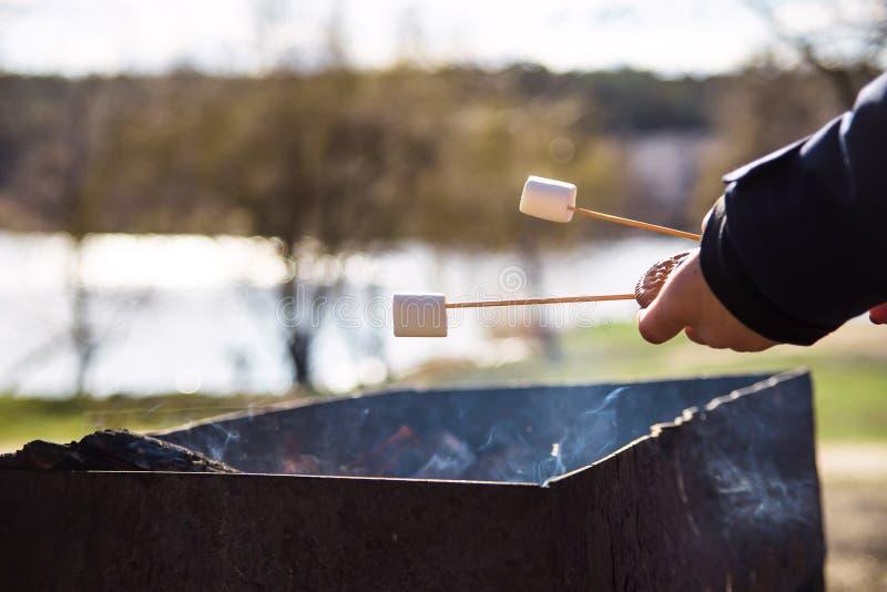 Cozinhando a sobremesa com os marshmallows pelo fogo em um piquenique na natureza fotos de stock royalty free