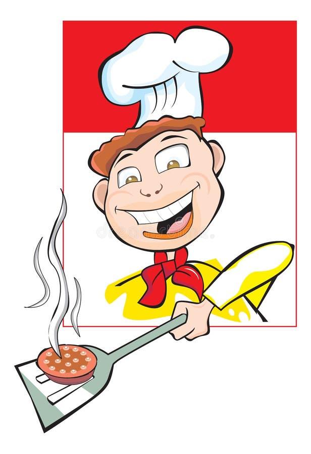 Cozinhando um Burger Patty, ilustração ilustração do vetor