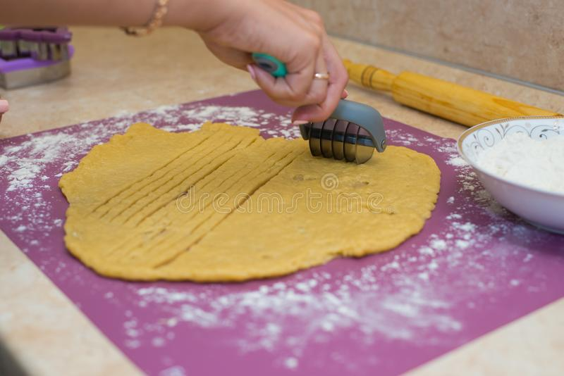 Cozinhe as cookies da massa foto de stock