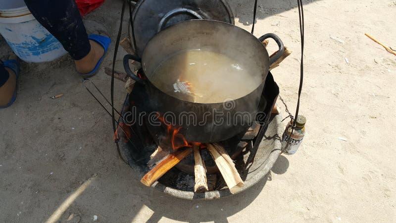 Cozinhe caranguejos no potenciômetro na praia fotos de stock
