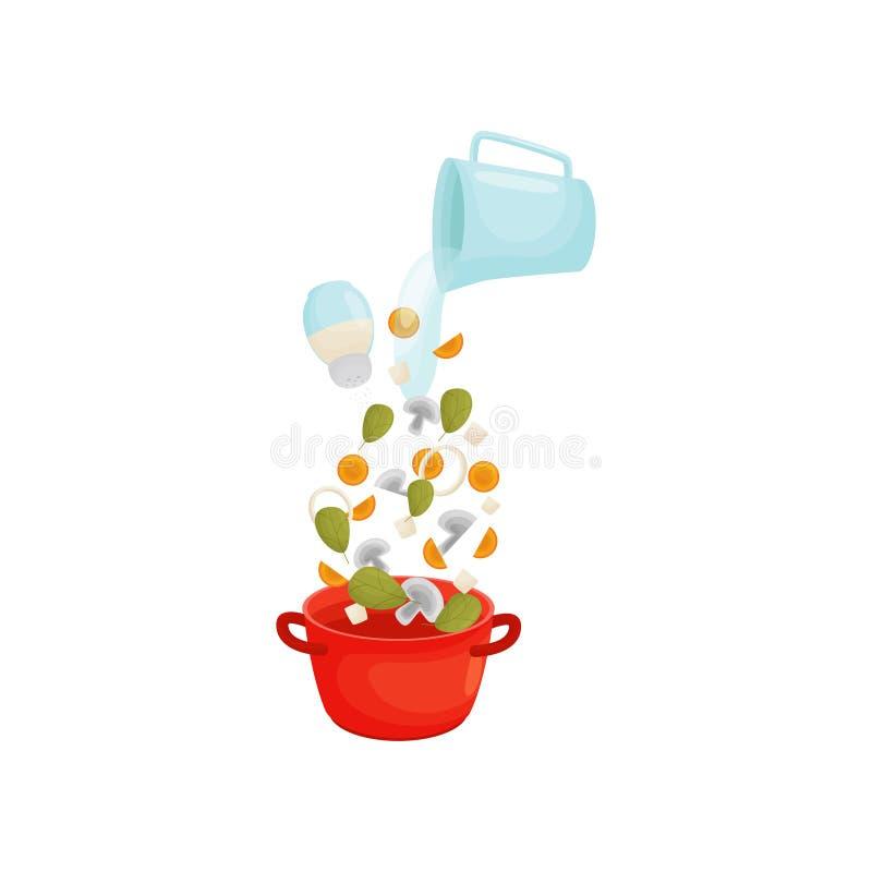 Cozinhe a sopa com cogumelos e vegetais em uma caçarola Ilustra??o do vetor ilustração do vetor