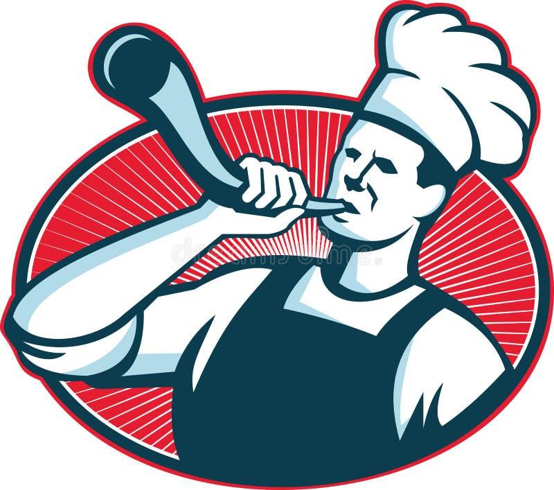 Cozinheiro Baker Blowing Bullhorn do cozinheiro chefe retro ilustração do vetor