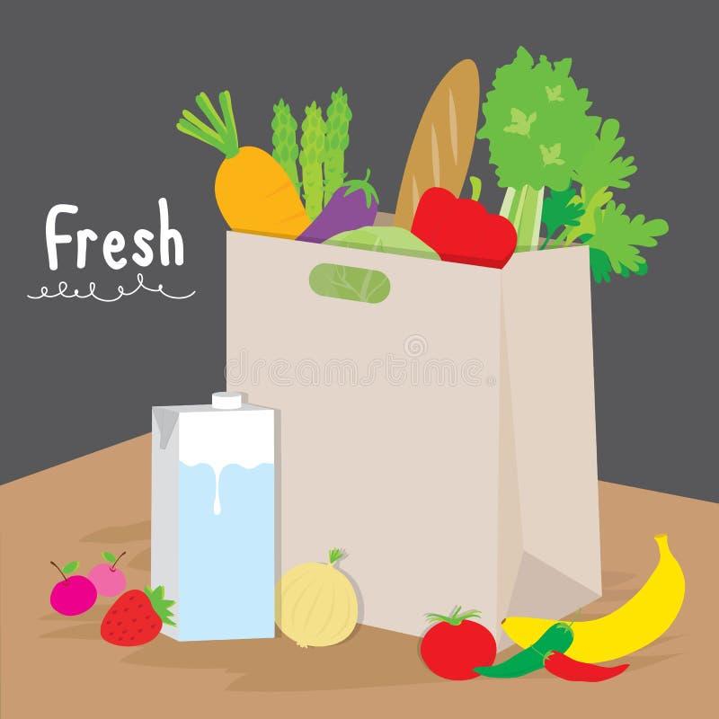 Cozinheiro Cartoon Vetora do vegetal de fruto do mercado da compra do saco ilustração stock