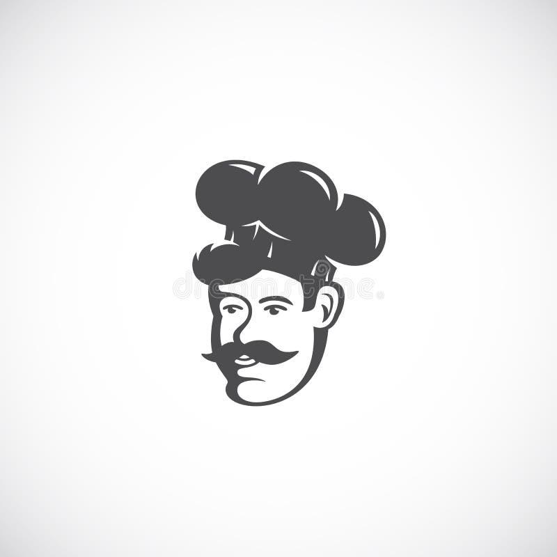 Cozinheiro chefe Abstract Vetora Sign, símbolo ou Logo Template Emblema retro do estilo Cozinhe Face em um chapéu com bigode ilustração do vetor
