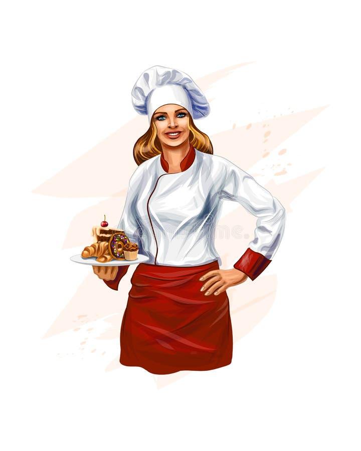 Cozinheiro chefe Baking um bolo ilustração do vetor