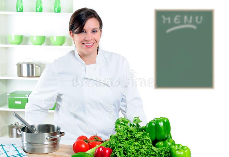 Cozinheiro chefe bonito fotografia de stock