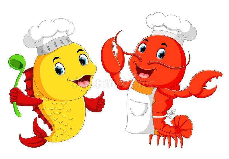 Cozinheiro chefe bonito da lagosta e desenhos animados do cozinheiro chefe dos peixes ilustração royalty free