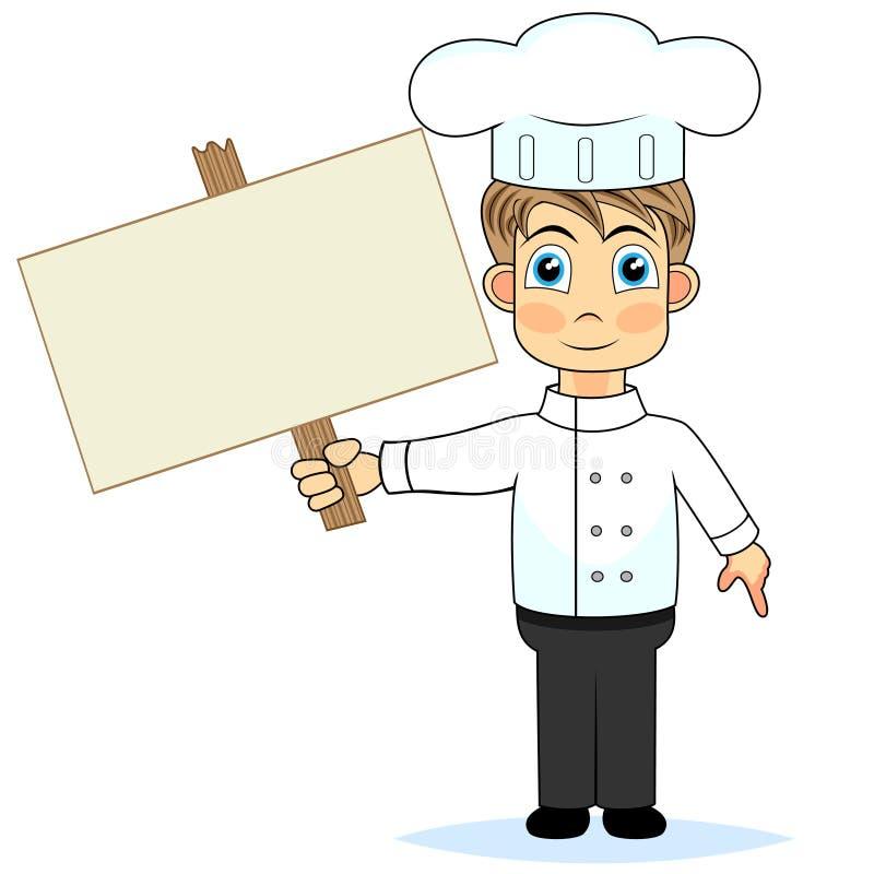 Cozinheiro chefe bonito do menino que prende um sinal em branco de madeira ilustração stock