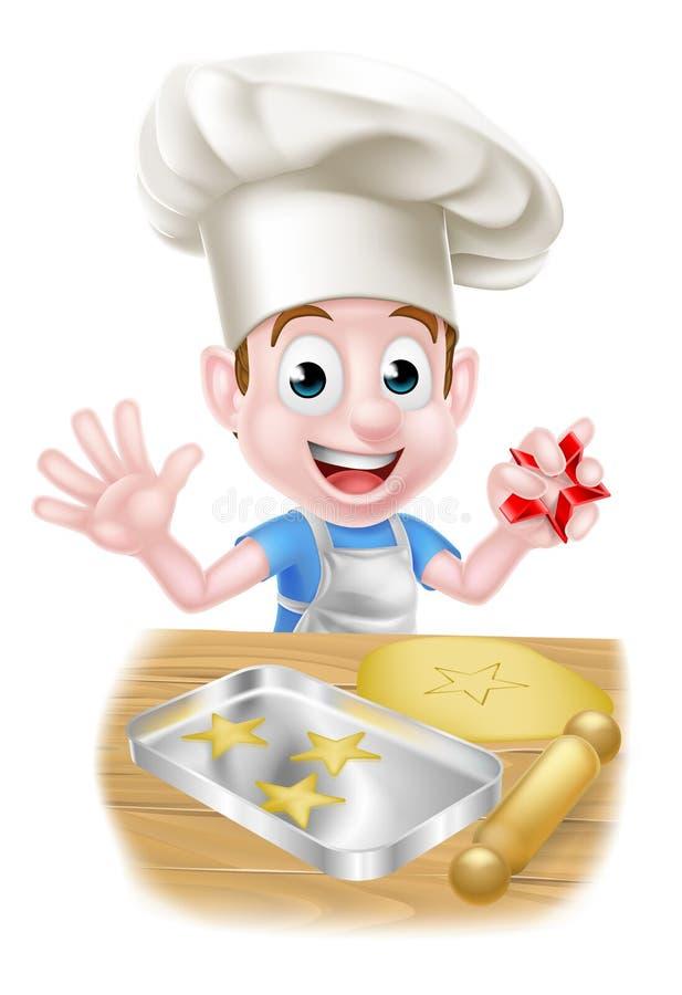 Cozinheiro chefe Boy Baking dos desenhos animados ilustração royalty free