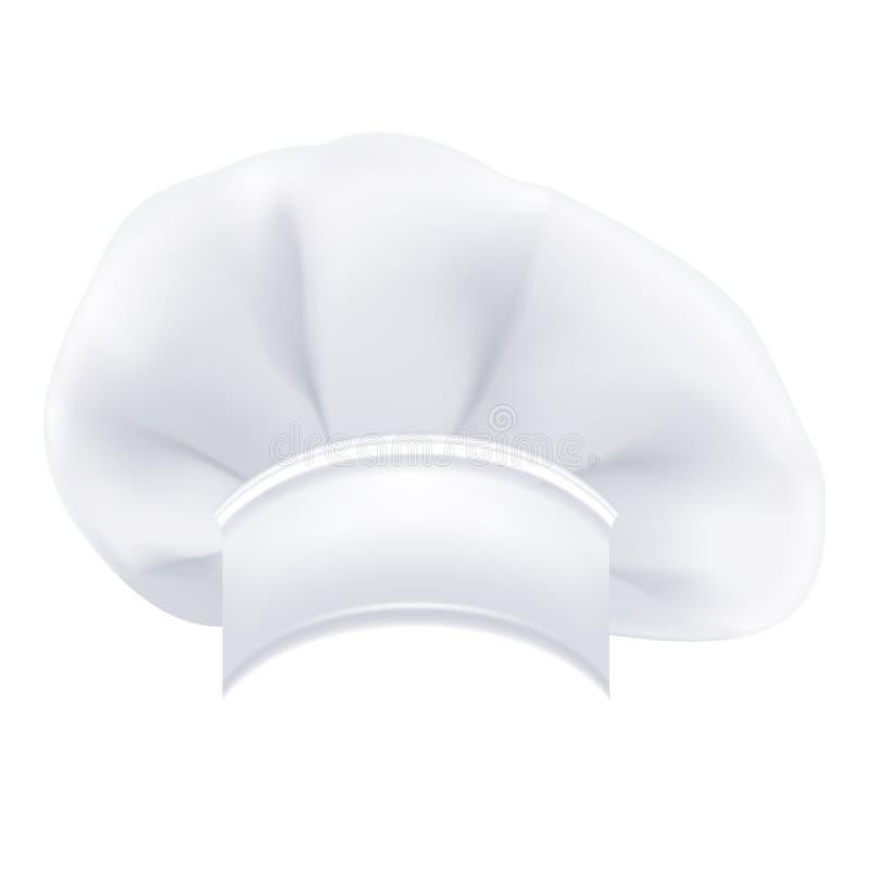 Cozinheiro chefe branco moderno Photorealistic Hat Isolated On um fundo branco Ilustração do vetor ilustração stock