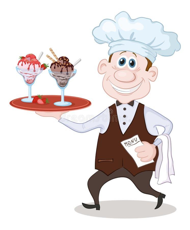 Cozinheiro chefe Carries Ice Cream ilustração stock