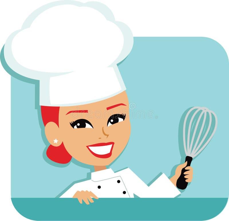 Cozinheiro chefe Cartoon Baking Illustration da mulher ilustração royalty free