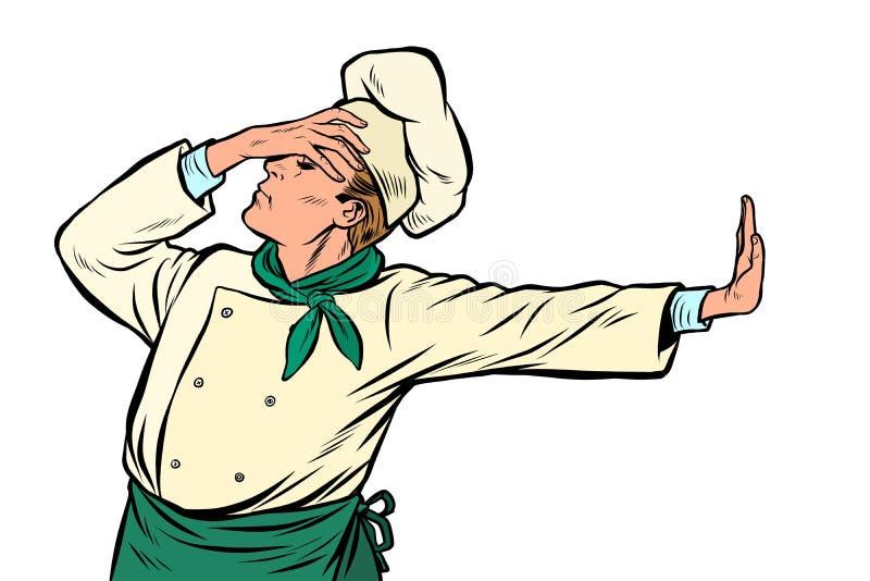 Cozinheiro chefe caucasiano do cozinheiro, gesto da vergonha recusa não ilustração do vetor