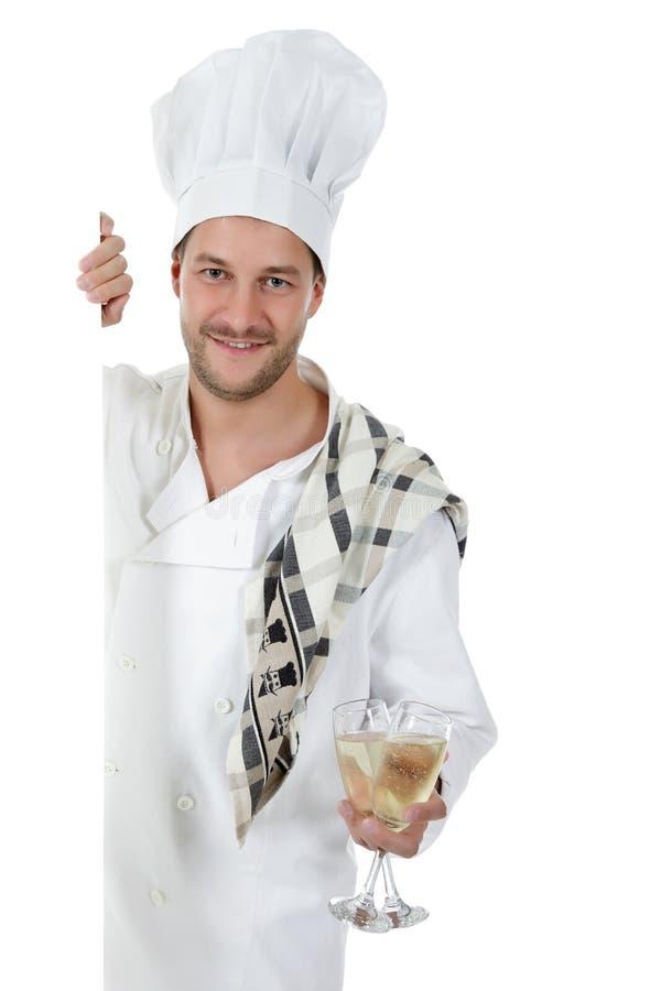 Cozinheiro chefe caucasiano novo atrativo do homem, vidros imagem de stock