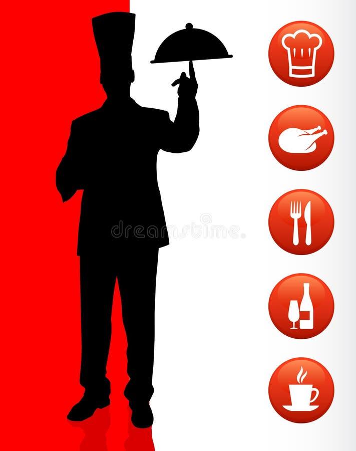 Cozinheiro chefe com ícones do jantar ilustração royalty free