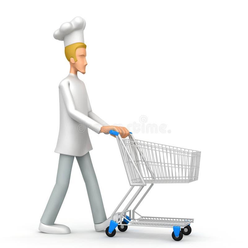 Cozinheiro chefe com carro de comércio ilustração do vetor