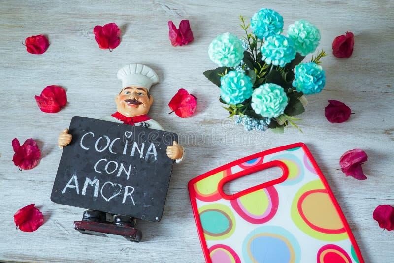 COZINHEIRO CHEFE COM CARTAZ foto de stock