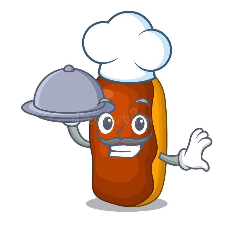 Cozinheiro chefe com chocolate da cor do bolo do eclair dos desenhos animados da mascote do alimento ilustração stock