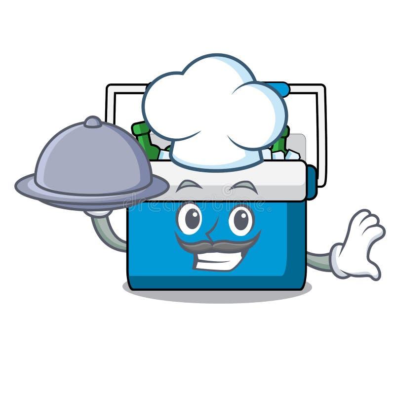 Cozinheiro chefe com desenhos animados da mascote do saco do congelador do alimento ilustração royalty free