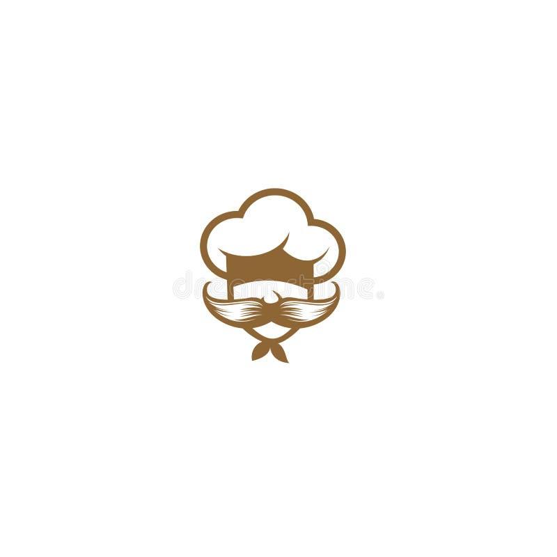Cozinheiro chefe com grande ilustração do vetor do bigode ilustração stock