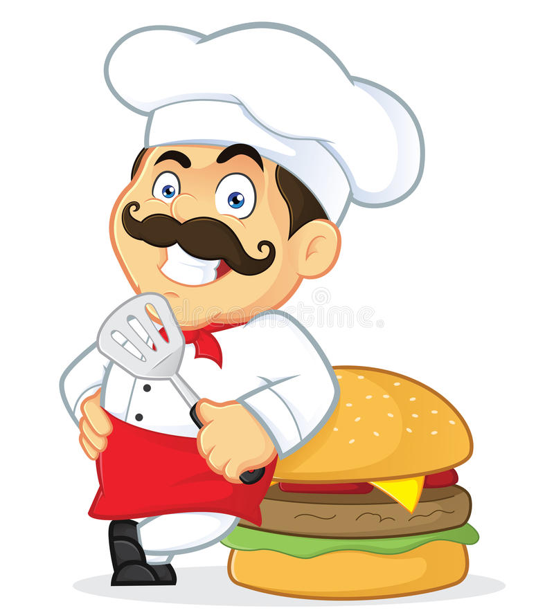 Cozinheiro chefe com hamburguer gigante ilustração royalty free
