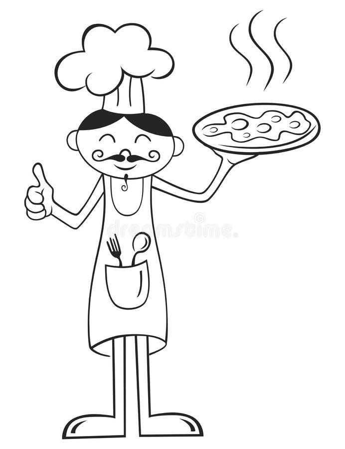 Cozinheiro chefe com pizza ilustração stock