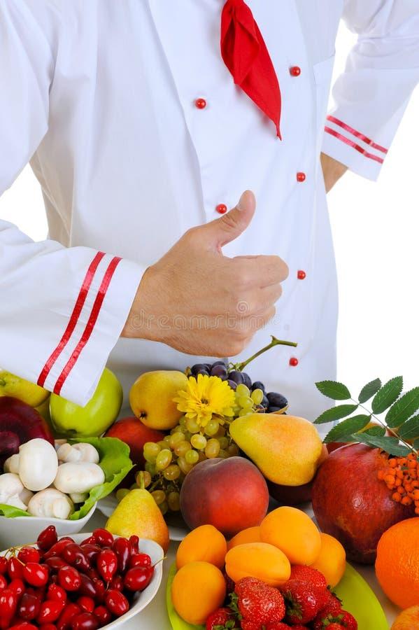 Cozinheiro chefe com polegar fotos de stock royalty free