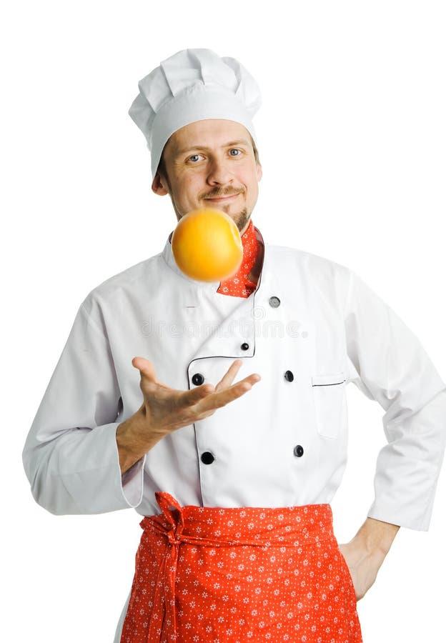 Cozinheiro chefe com pomelo fotos de stock royalty free