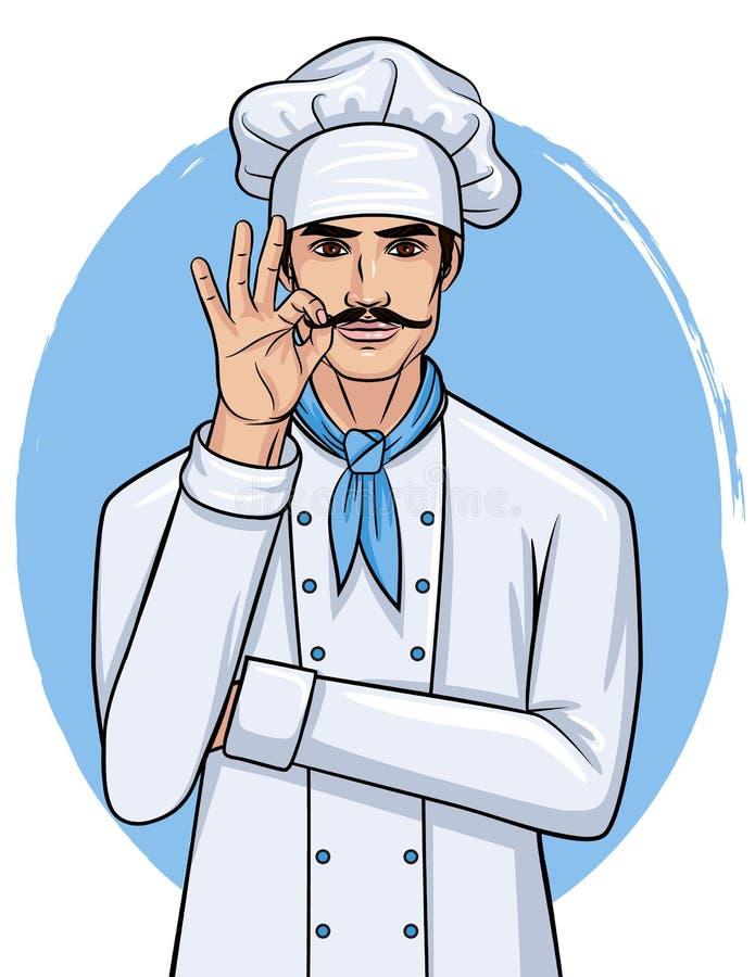 Cozinheiro chefe com sinal do ` da aprovação do ` da mostra do bigode ilustração do vetor