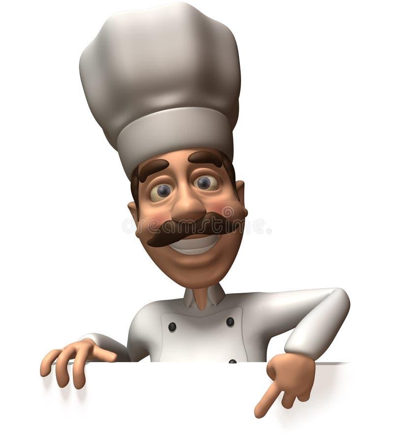 Cozinheiro chefe com um sinal em branco ilustração stock