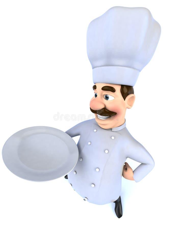 Cozinheiro chefe com um sinal em branco ilustração royalty free