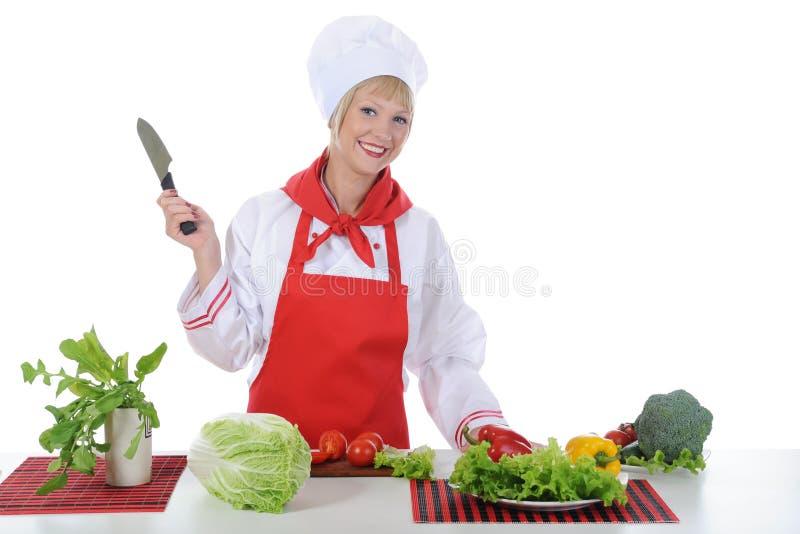 Cozinheiro chefe considerável no uniforme. fotos de stock