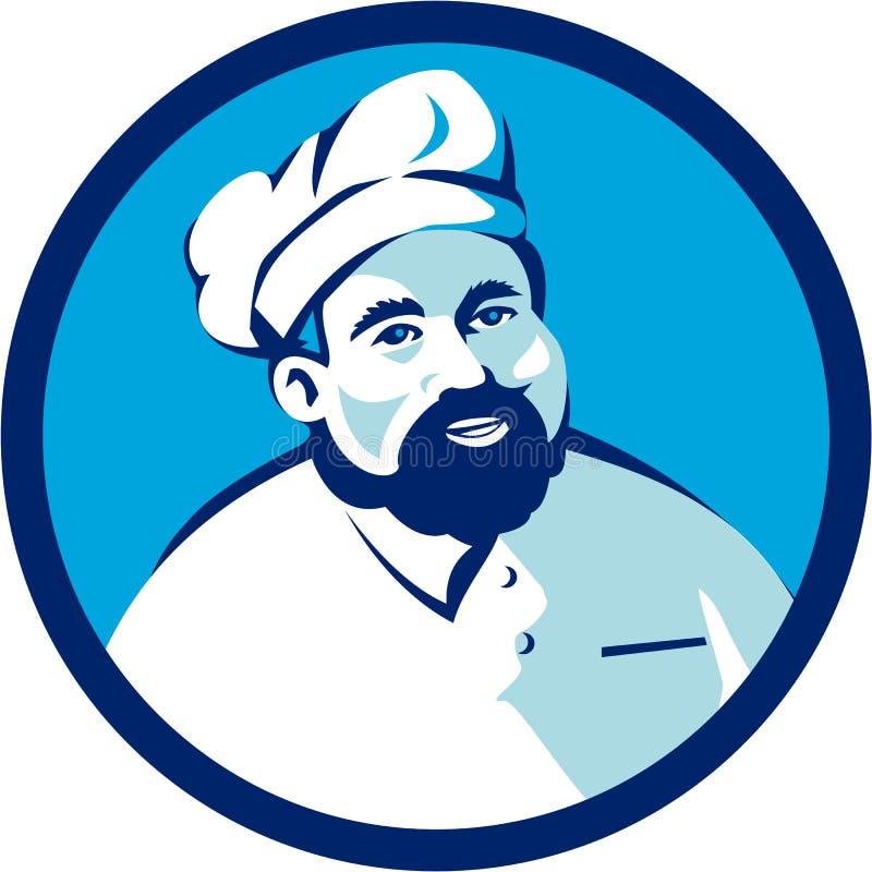 Cozinheiro chefe Cook Bearded Circle do padeiro retro ilustração do vetor