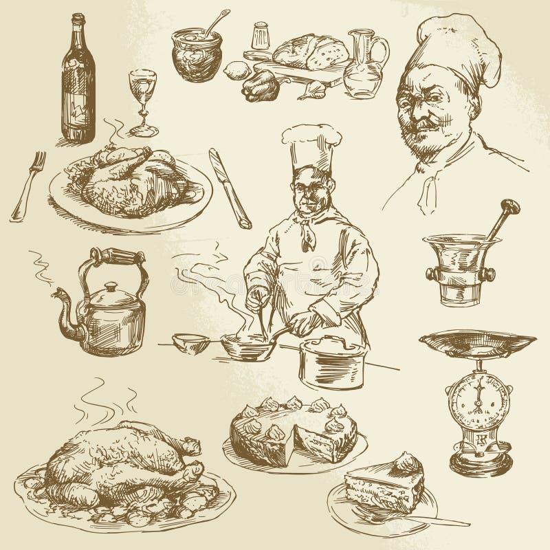 Cozinheiro chefe, cozinhando ilustração royalty free