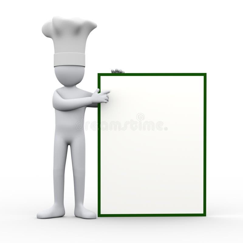 cozinheiro chefe 3d que aponta à placa vazia ilustração royalty free