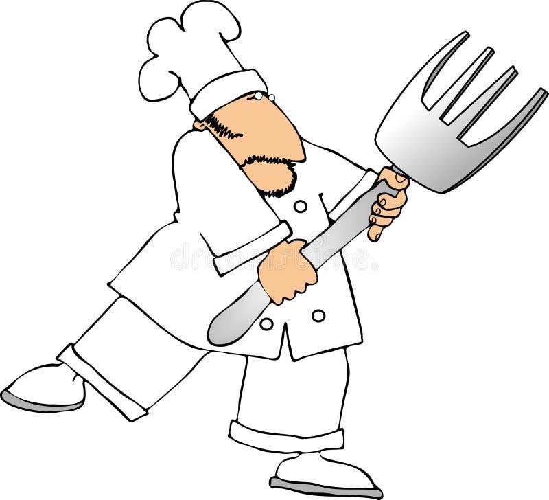 Cozinheiro chefe da forquilha ilustração stock