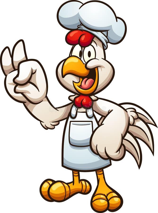 Cozinheiro chefe da galinha dos desenhos animados que faz o gesto de mão APROVADO ilustração do vetor