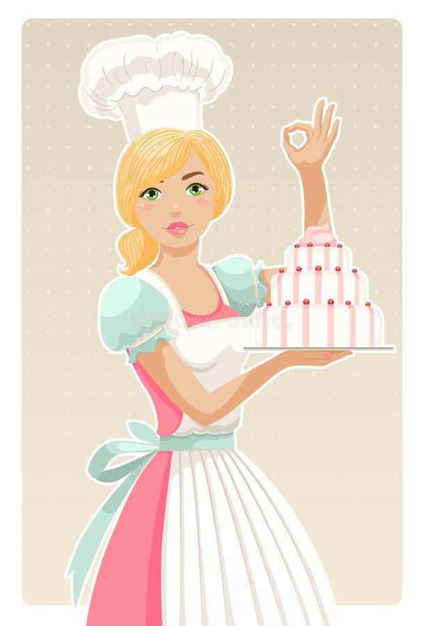 Cozinheiro chefe da menina ilustração royalty free