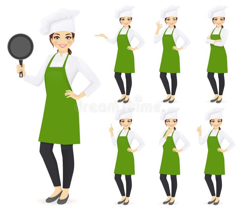 Cozinheiro chefe da mulher ilustração stock