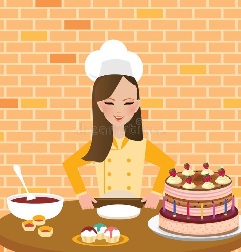 Cozinheiro chefe da mulher das meninas que cozinha o bolo do cozimento no chapéu e no avental vestindo da cozinha ilustração do vetor