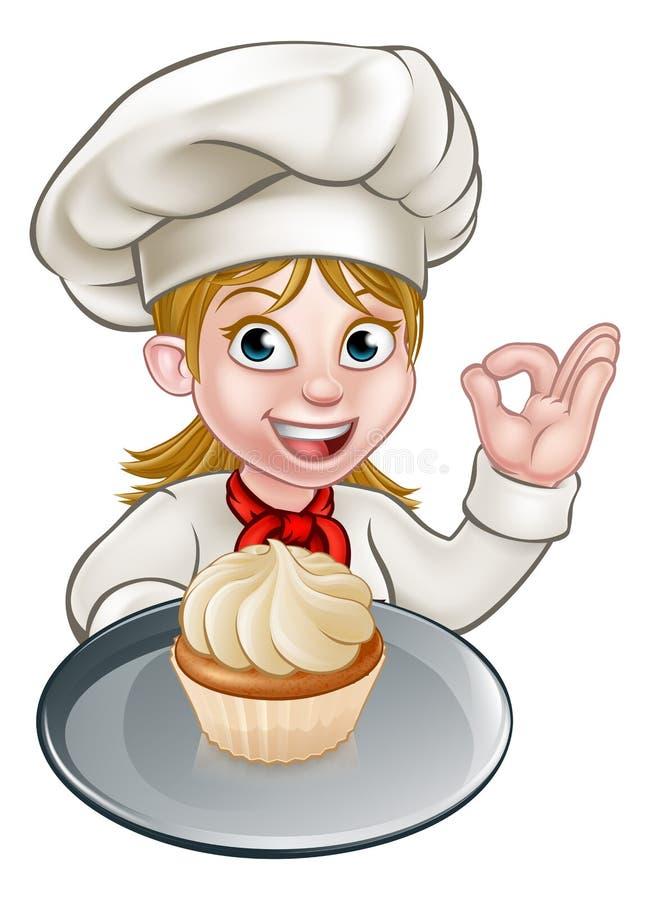 Cozinheiro chefe da mulher ou padeiro Cartoon ilustração royalty free