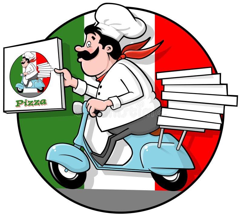 Cozinheiro chefe da pizza da entrega ilustração royalty free
