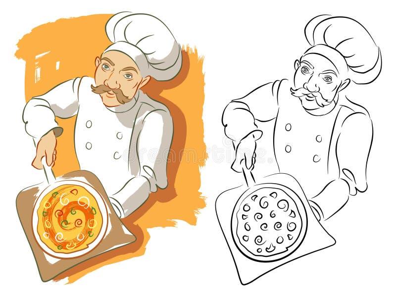 Cozinheiro chefe da pizza na cor mais a versão preto e branco ilustração do vetor