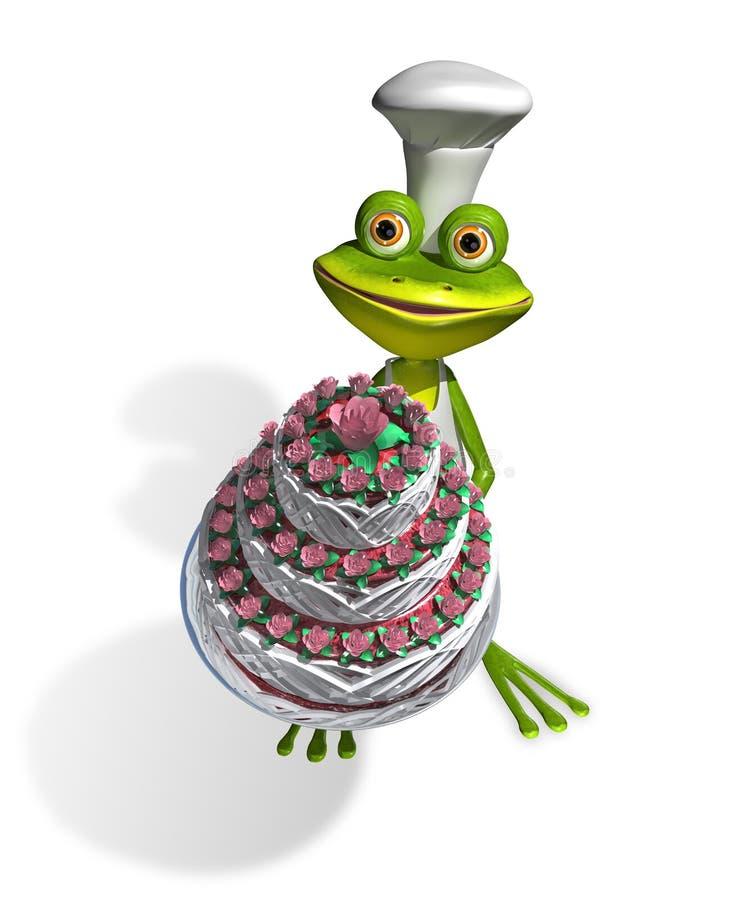 Cozinheiro chefe da rã com bolo ilustração do vetor