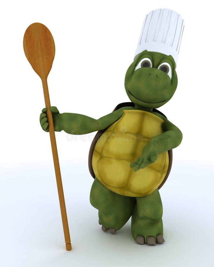 Cozinheiro chefe da tartaruga com colher de madeira ilustração do vetor
