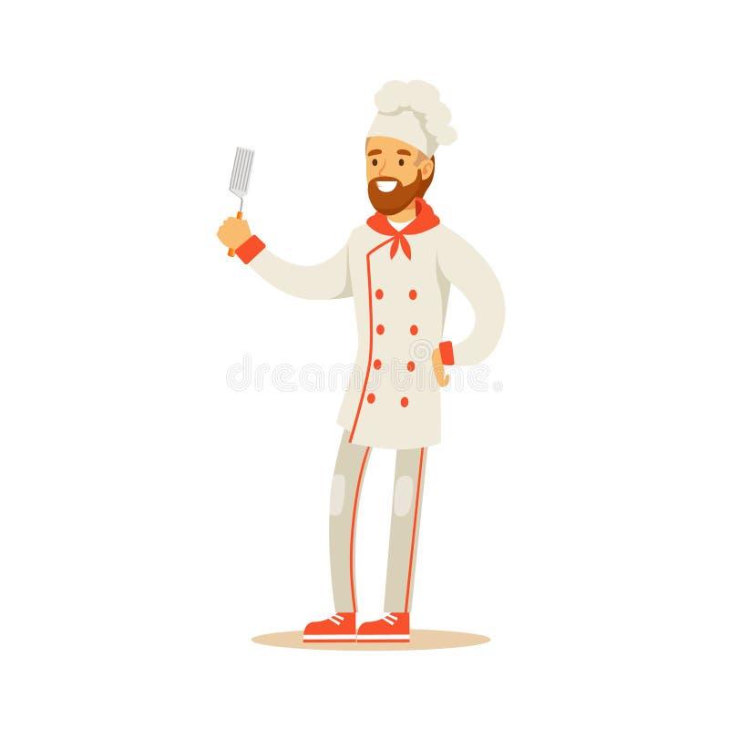 Cozinheiro chefe de cozimento profissional Working In Restaurant do homem farpado que veste desenhos animados guardando uniformes ilustração royalty free