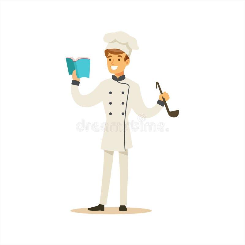 Cozinheiro chefe de cozimento profissional Working In Restaurant do homem que veste o uniforme tradicional clássico com livro e c ilustração royalty free
